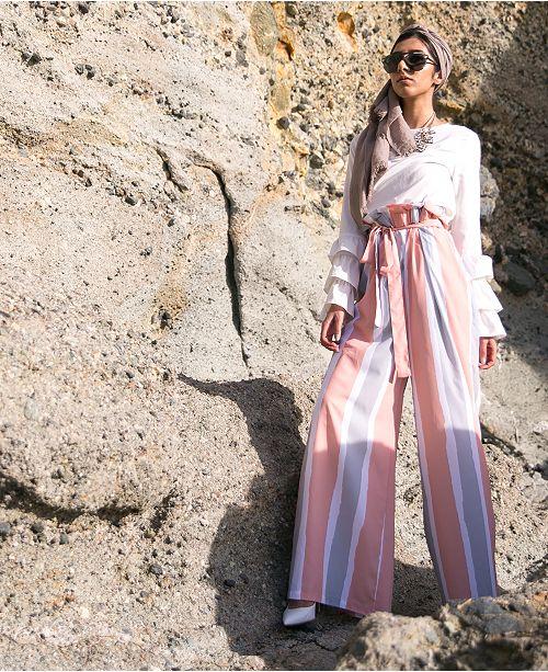 Verona Collection Kali Striped Box-Pleat Modest Pants