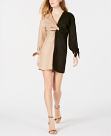 Moon River Colorblocked Front-Twist Dress