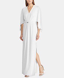 Belted Cape Jersey Gown