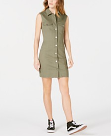T.D.C. Topson Sleeveless Button-Front Shirtdress