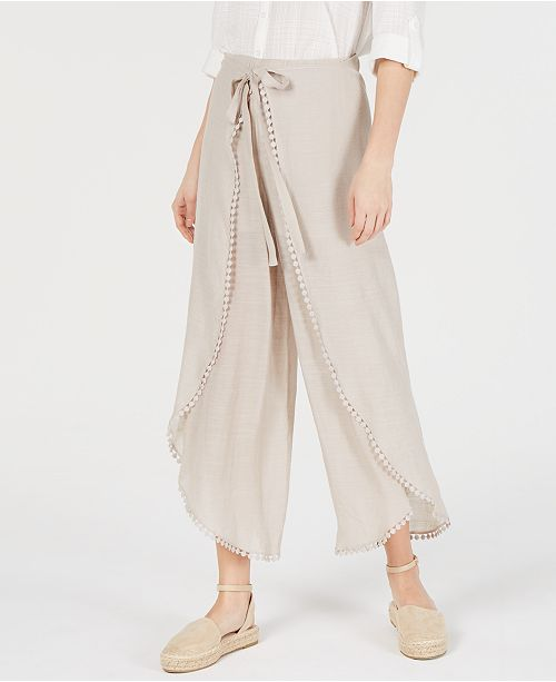 BCX Juniors' Crochet-Trimmed Wrap-Front Pants