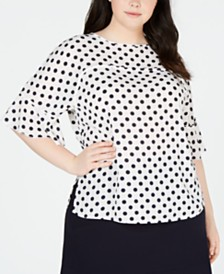 Bar III Plus Size Polka Dot Ruffle-Sleeve Top, Created for Macy's