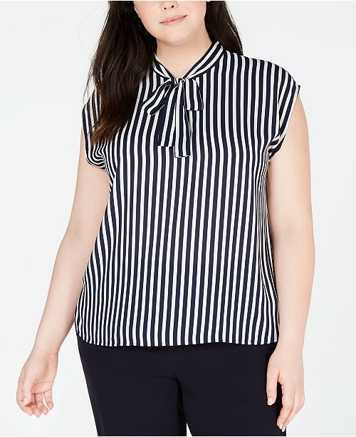 Bar III Plus Size Striped Tie-Neck Top, Created for Macy's