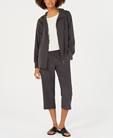 Eileen Fisher Silk Long-Sleeve Top, Hooded Zip-Front Jacket & Cropped Pull-On Pants