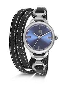 Ladies' Ilana Black Leather Triple Wrap Watch