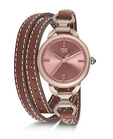 Frye Ladies' Ilana Cognac Leather Triple Wrap Watch