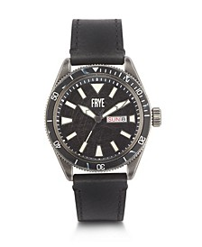 Mens' Campus Distressed Dial Black Leather Strap Watch