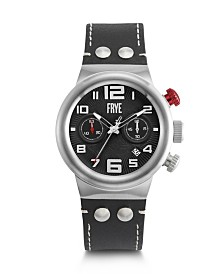 Frye Mens' Harness Chronograph Black Leather Strap Watch
