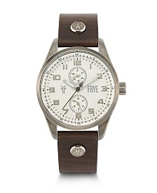 Frye Mens' Bowery Brown Leather Strap Watch