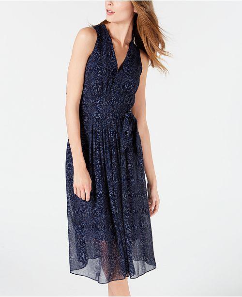 5d7d9a306fc Anne Klein Dot-Print Belted Midi Dress & Reviews - Dresses - Women ...