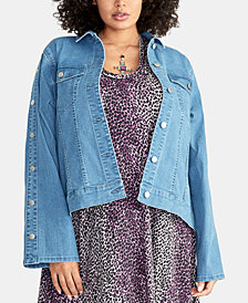 RACHEL Rachel Roy Plus Size Bobbi Snap-Sleeve Denim Jacket