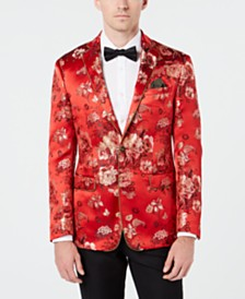Tallia Men's Slim-Fit Gold Floral Jacquard Sport Coat