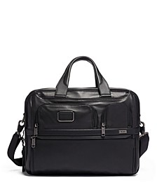 Alpha 3 Expandable Organizer Leather Laptop Brief