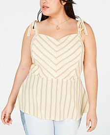 Trendy Plus Size Tie-Strap Peplum Top