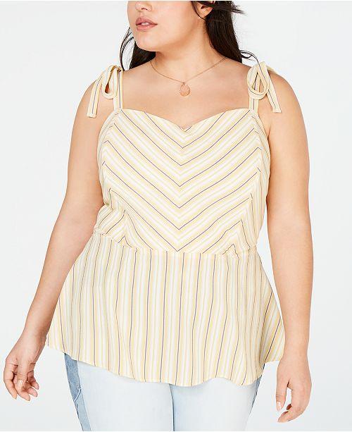 Monteau Trendy Plus Size Tie-Strap Peplum Top