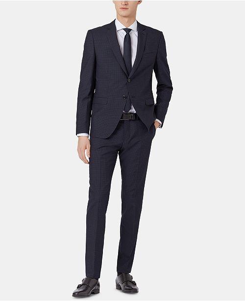 Hugo Boss BOSS Men's Extra-Slim Fit Micro-Check Virgin Wool Suit