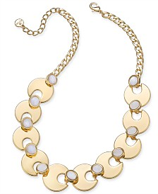 "Alfani Gold-Tone & Stone Statement Necklace, 17"" + 2"" extender, Created for Macy's"