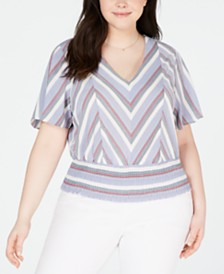 Monteau Trendy Plus Size Printed Smocked Top