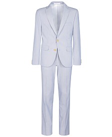 Lauren Ralph Lauren Big Boys Stretch Blue/White Stripe Suit Separates