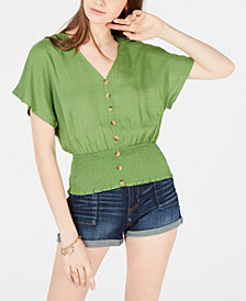Planet Gold Juniors' Button-Up Smocked Top