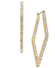 Alfani Gold-Tone Pavé Diamond-Shape Hoop Earrings, Created for Macy's