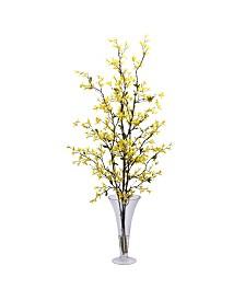 Nearly Natural Forsythia w/Vase Silk Flower Arrangement