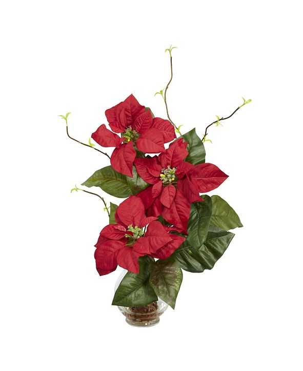 Nearly Natural Poinsettia w/Fluted Vase Silk Flower Arrangement