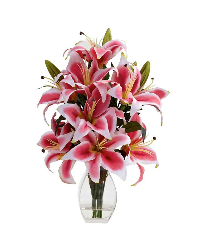 Nearly Natural Rubrum Lily w/ Decorative Vase