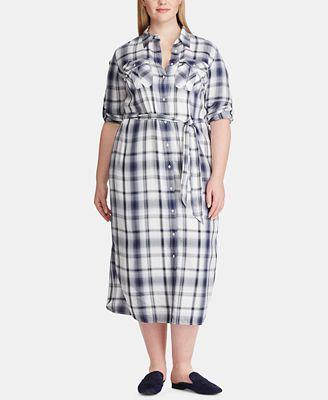 Lauren Ralph Lauren Plus Size Plaid Herringbone Shirtdress