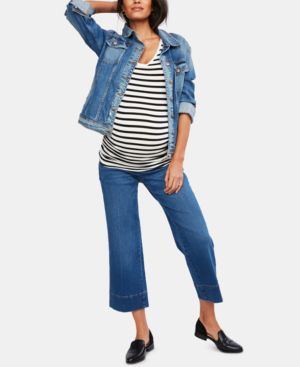 Image of A Pea in the Pod Maternity Cropped Wide-Leg Jeans