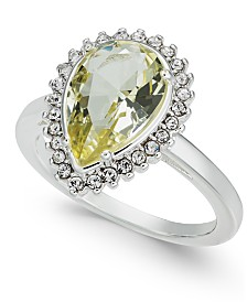Charter Club Silver-Tone Crystal Pear-Shape Halo Ring, Created for Macy's