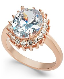 Charter Club Rose Gold-Tone Crystal Oval Halo Ring, Created for Macy's