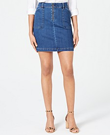 INC Zip-Front Denim Skirt, Created for Macy's
