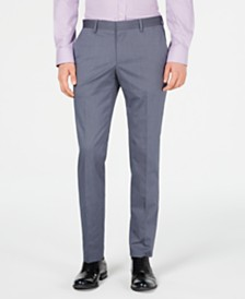 HUGO Hugo Boss Men's Slim-Fit Stretch Navy Vertical Stripe Suit Pants