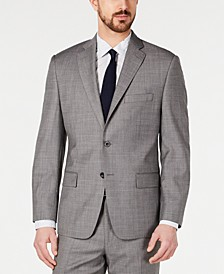 Men's Classic-Fit Airsoft Stretch Blue/Gray Mini-Grid Suit Jacket