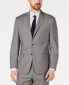 Michael Kors Men's Classic-Fit Airsoft Stretch Blue/Gray Mini-Grid Suit Jacket