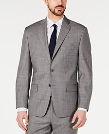 Michael Kors Men's Classic-Fit Airsoft Stretch Blue/Gray Mini-Grid Suit Jacket