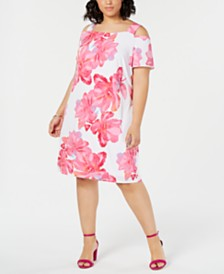 I.N.C. Plus Size Cold-Shoulder Shift Dress, Created for Macy's