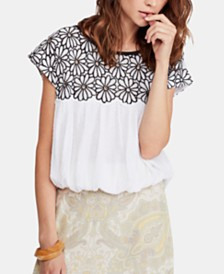 Free People Georgia Embroidered Bubble Top