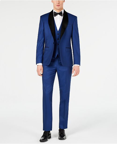 Ryan Seacrest Distinction Men's Slim-Fit Stretch Cobalt Blue Tuxedo Suit Separates, Created for Macy's