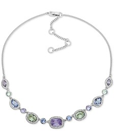"Silver-Tone Multi-Crystal Collar Necklace, 16"" + 3"" extender"