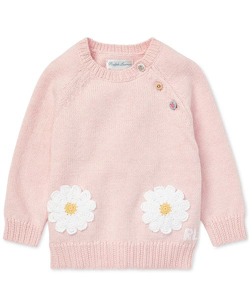 Polo Ralph Lauren Baby Girls Daisy-Pocket Cotton Sweater