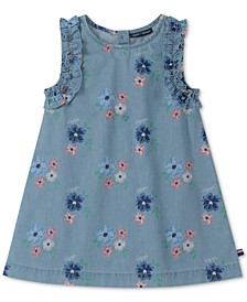 Little Girls Cotton Floral-Print Denim Dress