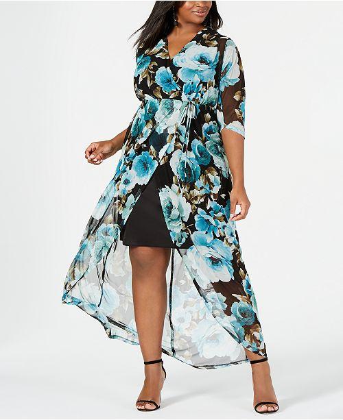 Connected Plus Size Cutaway Floral Maxi Dress & Reviews ...