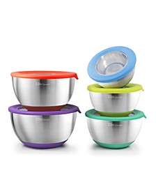 Elite Gourmet 10 Piece Mixing Bowls with Clear Lids