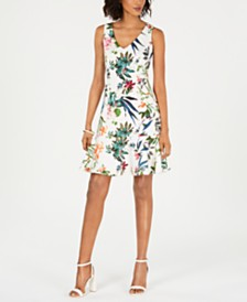 Taylor Petite Floral-Printed Flounce Dress