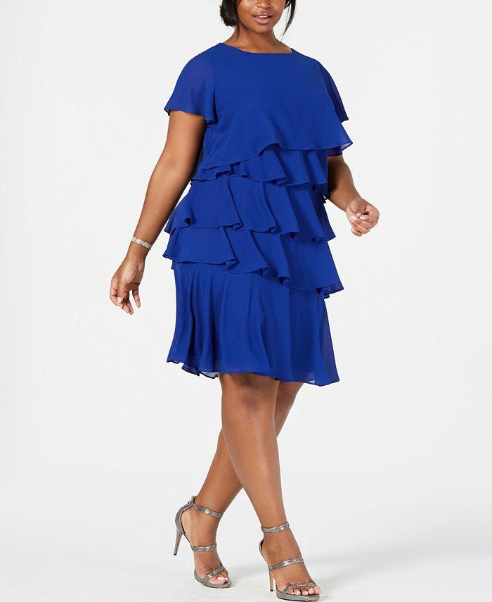 Jessica Howard - Plus Size Chiffon Tiered Dress