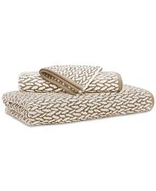 """Lauren Ralph Lauren Sanders  Antimicrobial Cotton Basket Weave 13"""" x 13"""" Wash Towel"""