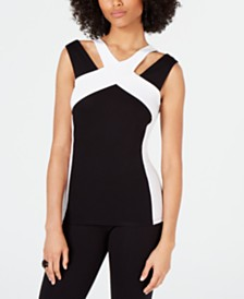 I.N.C. Colorblocked Cutout Top, Created for Macy's