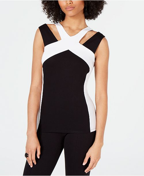 INC International Concepts INC Colorblocked Cutout Top, Created for Macy's